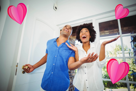 heart against happy couple entering home 3d