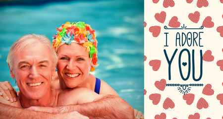 valentines words against portrait of happy mature couple in swimming pool photo