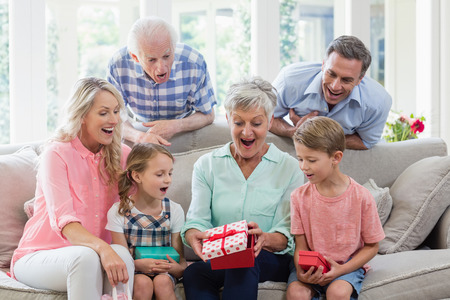 family  room: Family opening the surprise gift in living room at home