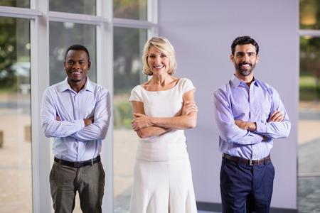 company premises: Portrait of confident business executives at conference centre Stock Photo