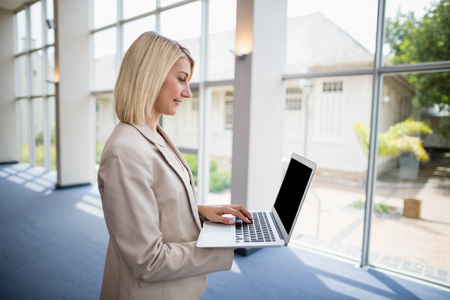 conference centre: Businesswoman using laptop at conference centre Stock Photo