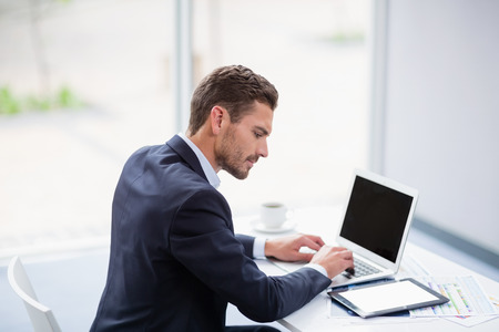 conference centre: Businessman using laptop at desk in conference centre
