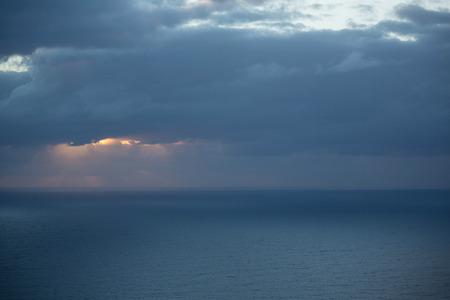 View of beautiful sea at sunset Stock Photo