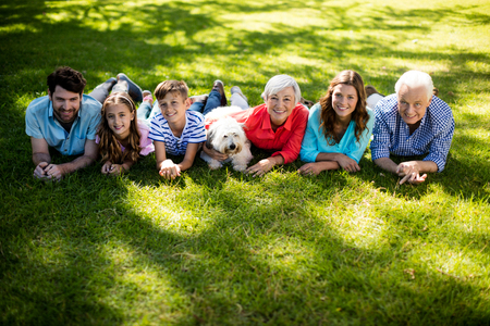 Family placing blanket in park on sunny a day Stock Photo