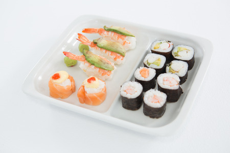 susi: Close-up of various sushi served on plate Stock Photo
