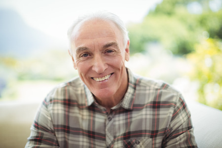 ageing process: Portrait of smiling senior man sitting on sofa in living room at home Stock Photo