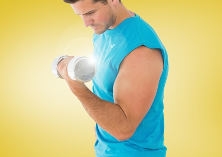 Digital composite of Man weightlifting with flare and yellow background
