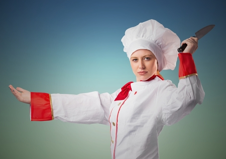 Digital composite of Chef with knife against blue green background