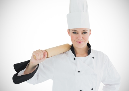 unhealthful: Digital composite of Chef with rolling pin against white background