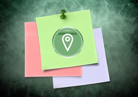 outstretched: Digital composite of Sticky Note with location icon against green background