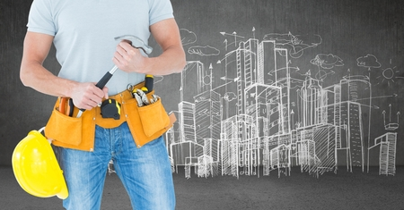 Digital composite of Carpenter with hammer against skyline sketch 写真素材