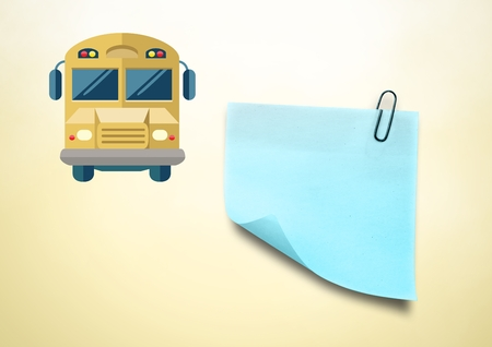 shaking out: Digital composite of Sticky Note and School Bus icon against cream background