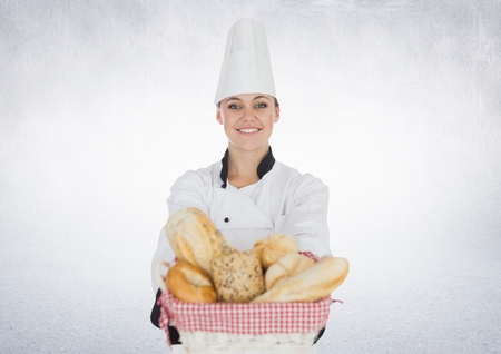 Digital composite of Chef with bread against white background Stock Photo