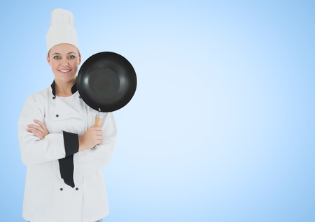 shaking out: Digital composite of Chef with frying pan against blue background