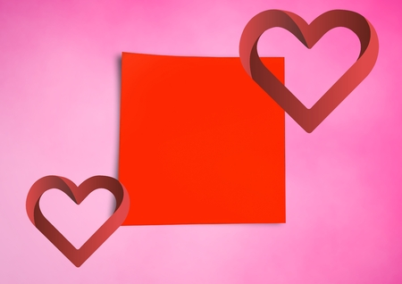 Digital composite of red Sticky Note hearts Stock Photo