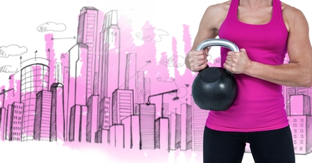 body scape: Digital composite of woman Fitness Torso against buildings drawings