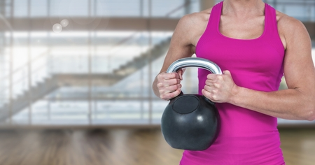 Digital composite of woman Fitness Torso raising weight