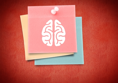 man working out: Digital composite of colored Sticky Note Brain icon against red background