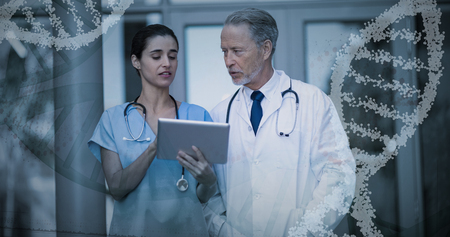 Panoramic view of red dna pattern on screen against doctor and nurse discussing over digital tablet