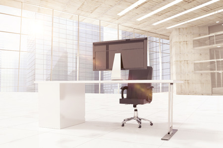 3d Office furniture against windows overlooking city