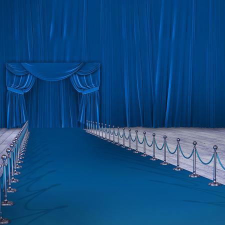 3d Composite image of blue carpet event against blue curtain
