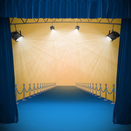 3d Curtains of blue color against image of spotlight
