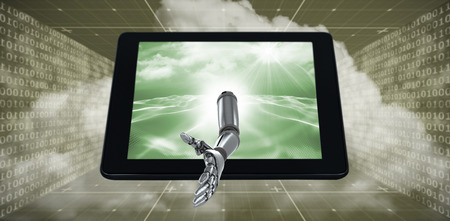 digitally generated image: 3D Digital generated image of robotic hand against digitally generated binary code landscape