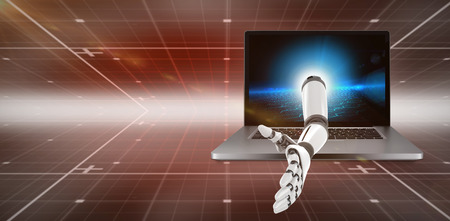 3D Digital composite image of robotic arm against hexagon pattern on technical background Stock Photo
