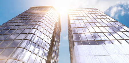 3d Low angle view of modern office building against view of blue sky and cloud