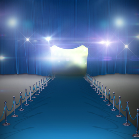 3d Curtains of blue color against blue curtain Stock Photo