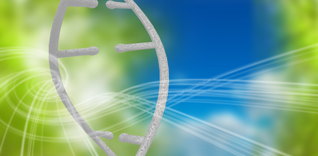 3d Image of dna helix against blue and green background with shiny lines Stock Photo