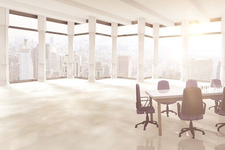 3d Empty office chairs and table against windows overlooking city Stock Photo