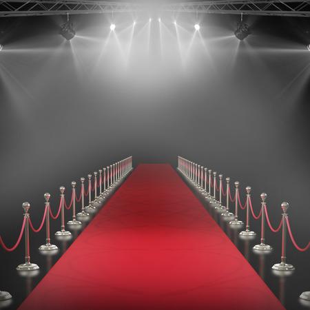 3d Spotlights against black background with vignette