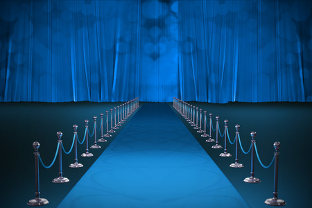 3d Digitally generated image of blue carpet event against blue curtain