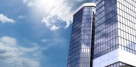 3d Low angle view of corporate building against view of blue sky and cloud