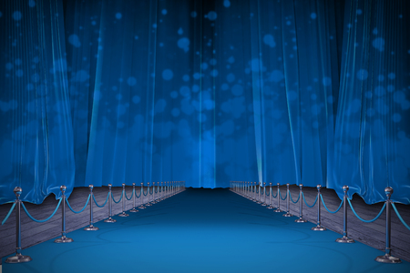 3d Digitally generated image of blue carpet against blue curtains