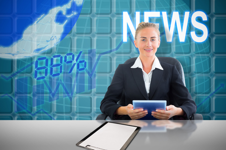 classy house: Businesswoman sitting on swivel chair with tablet against blue