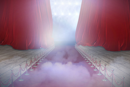 3d Illustrative image of red carpet event against close up of red fabric Stock Photo