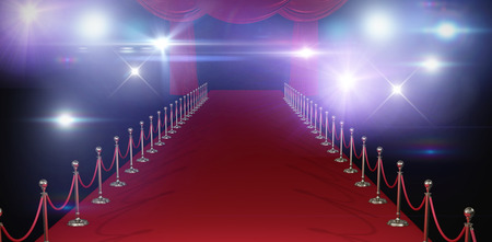 3d Curtains of red color  against stage light against white background Stock Photo