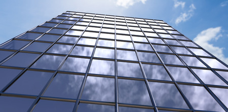 3d Low angle view of modern building against view of blue sky and cloud