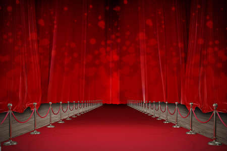 3d Digitally generated image of red carpet against red curtains