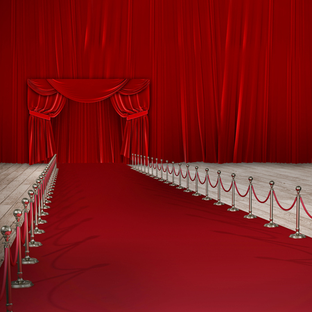 3d Composite image of red carpet event against red curtain
