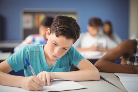 Attentive schoolboy studying in classroom at school