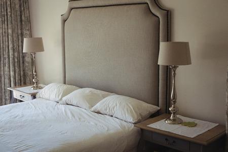 modern bedroom: View of modern bedroom interior Stock Photo