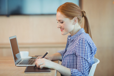 stylus: Female graphic designer using graphics tablet in office Stock Photo