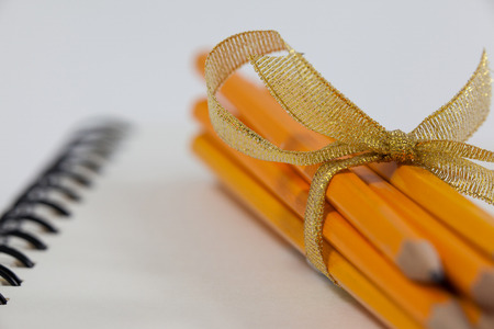Bunch of pencils wrapped with ribbons on book