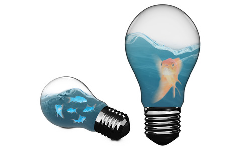 Empty light bulb against mouth open of goldfish while swimming 3D