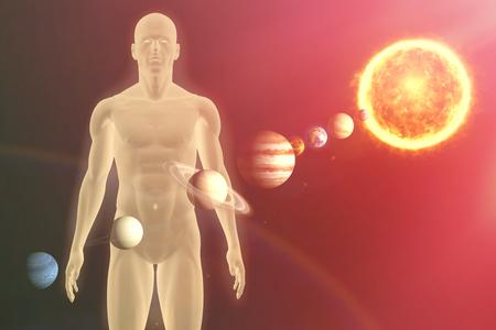 celestial body: Illustrative image of  solar system against black background Stock Photo
