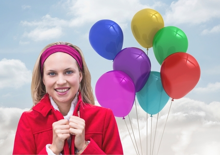 peering: Digital composite of Woman smiling against Balloons in sky