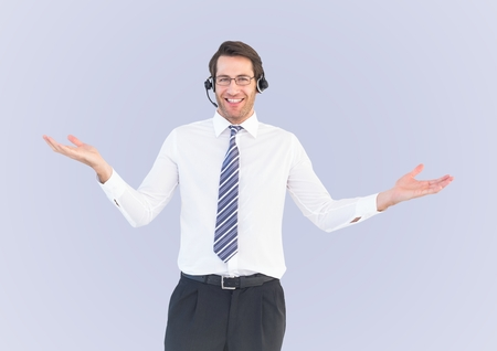 Digital composite of Smiling service operator man against a neutral background